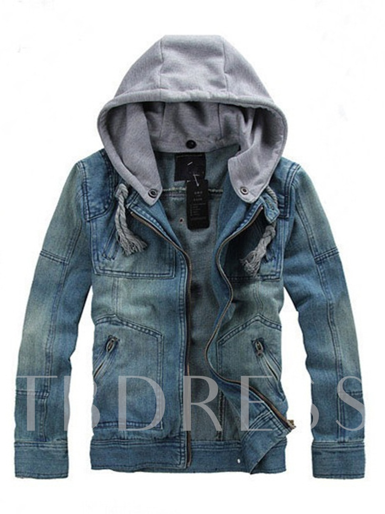 Zipper Color Block Hooded Zipper Men's Jacket