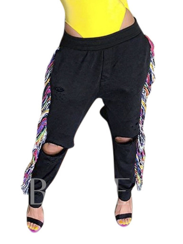 Slim Patchwork Mid Waist Women's Casual Pants