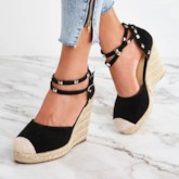 Espadrille Buckle Closed Toe Rivet Wedge Sandals