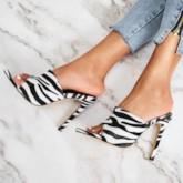 Zebra Print Slip-On Stiletto Heel Women's Slippers