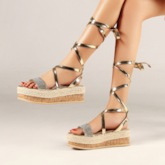 Platform Strappy Open Toe Lace-Up Roman Sandals