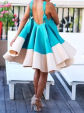 African Fashion Sleeveless Backless Color Block Women's Day Dress