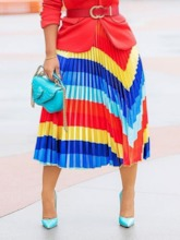 Pleated Mid-Calf Pleated Color Block Fashion Women's Skirt