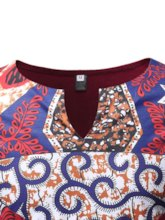 African Ethnic Print Round Neck Floral Straight Men's T-shirt