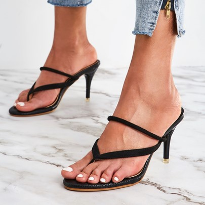 Daul-Use Shoes Suede Tong Heels Black Sandals for Women Daul-Use Shoes Suede Tong Heels Black Sandals for Women
