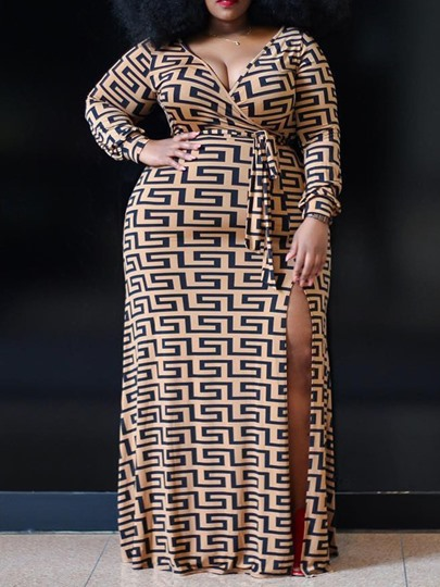 Plus Size Split Nine Points Sleeve A-Line Womens Maxi Dress Plus Size Split Nine Points Sleeve A-Line Women's Maxi Dress