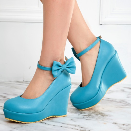 Round Toe Plain Bowtie Platform Wedge Heel Women's Pumps