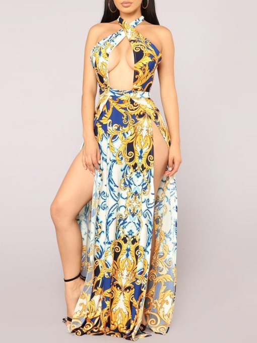 Print Floor-Length Western Color Block Dress Women's Beach Dresses