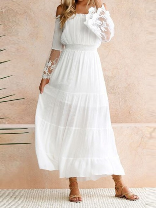 See-Through Off Shoulder Long Sleeve A-Line Women's Maxi Dress