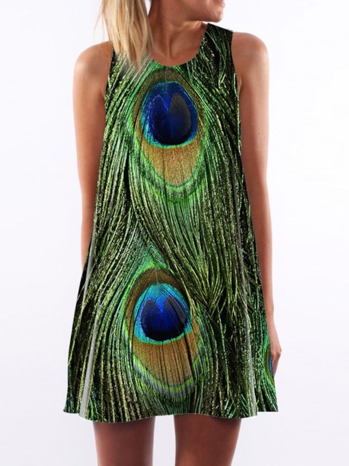 Print Sleeveless Round Neck Summer Women's Day Dress