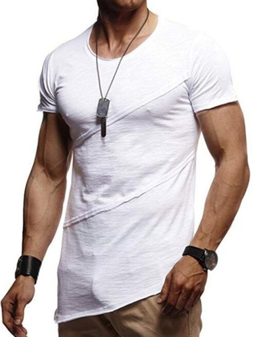 Round Neck Asymmetric Casual Plain Short Sleeve Men's T-shirt