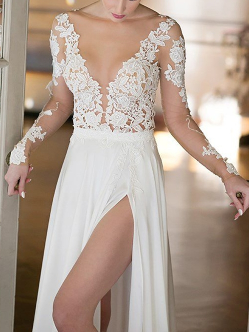 Split-Front Lace Appliques Long Sleeves Beach Wedding Dress 2019