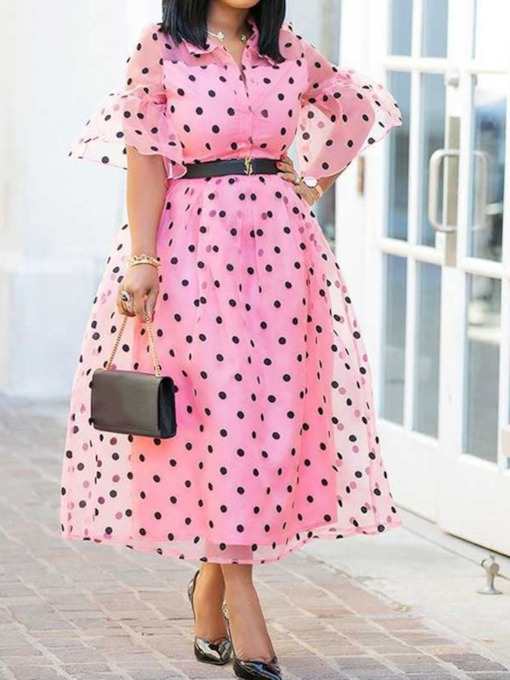Half Sleeve Patchwork Lapel Polka Dots Women's Maxi Dress Without Belt