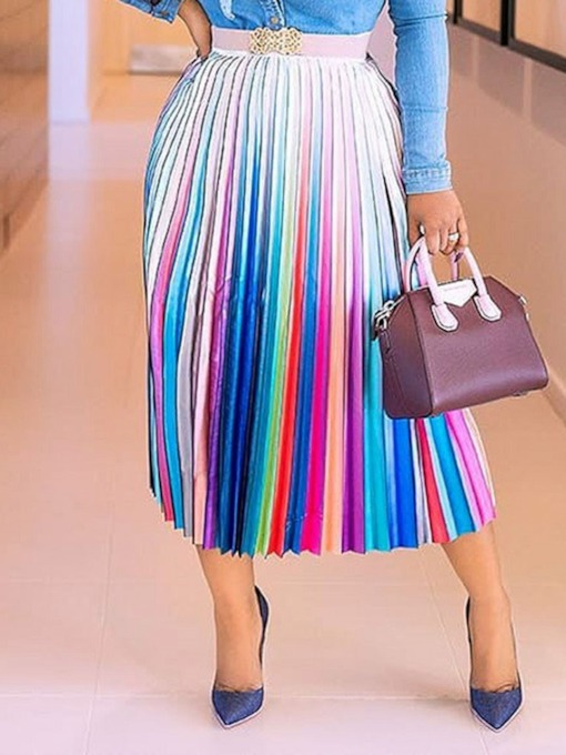 Pleated Color Block Pleated Mid-Calf Fashion Women's Skirt