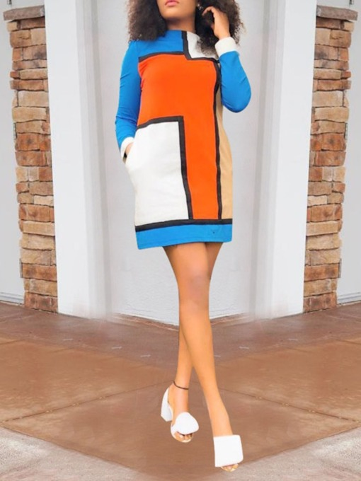 Patchwork Turtleneck Long Sleeve Color Block Women's Day Dress