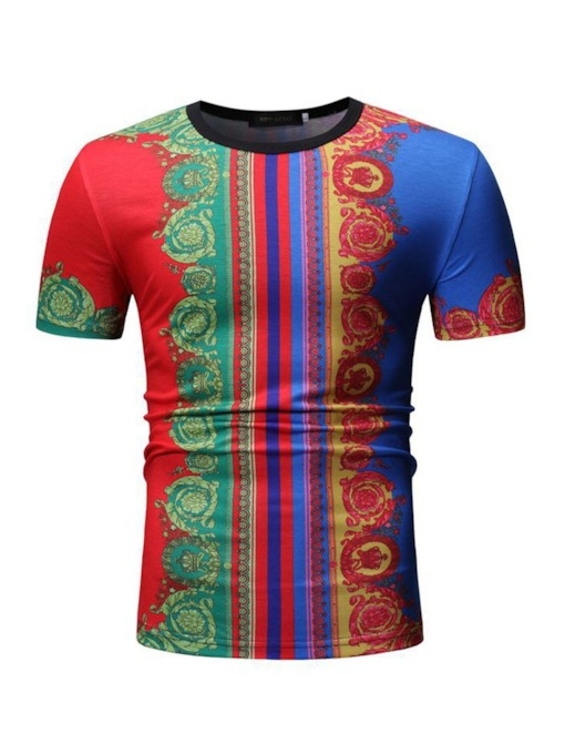 Floral Casual Round Neck Print Slim Men's T-shirt