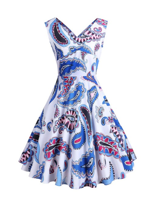 V-Neck Print Sleeveless A-Line V-Neck Women's Day Dress