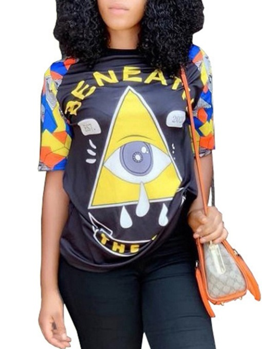 Mid-Length Round Neck Color Block Short Sleeve Loose Women's T-Shirt