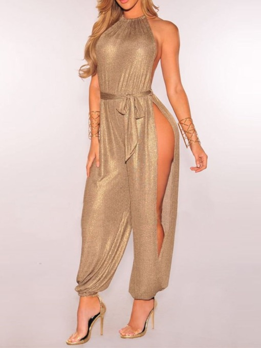 Full Length Belt Western Mid Waist Women's Jumpsuit