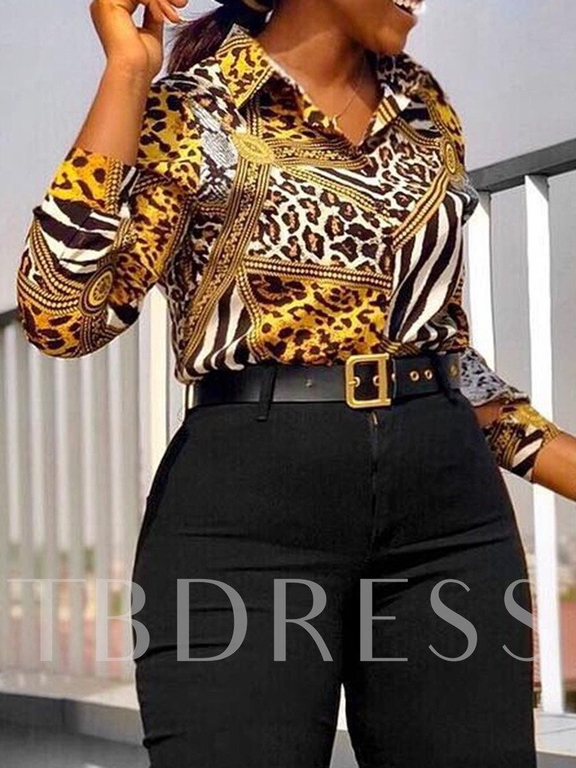 Print Lapel African Fashion Standard Women's Blouse
