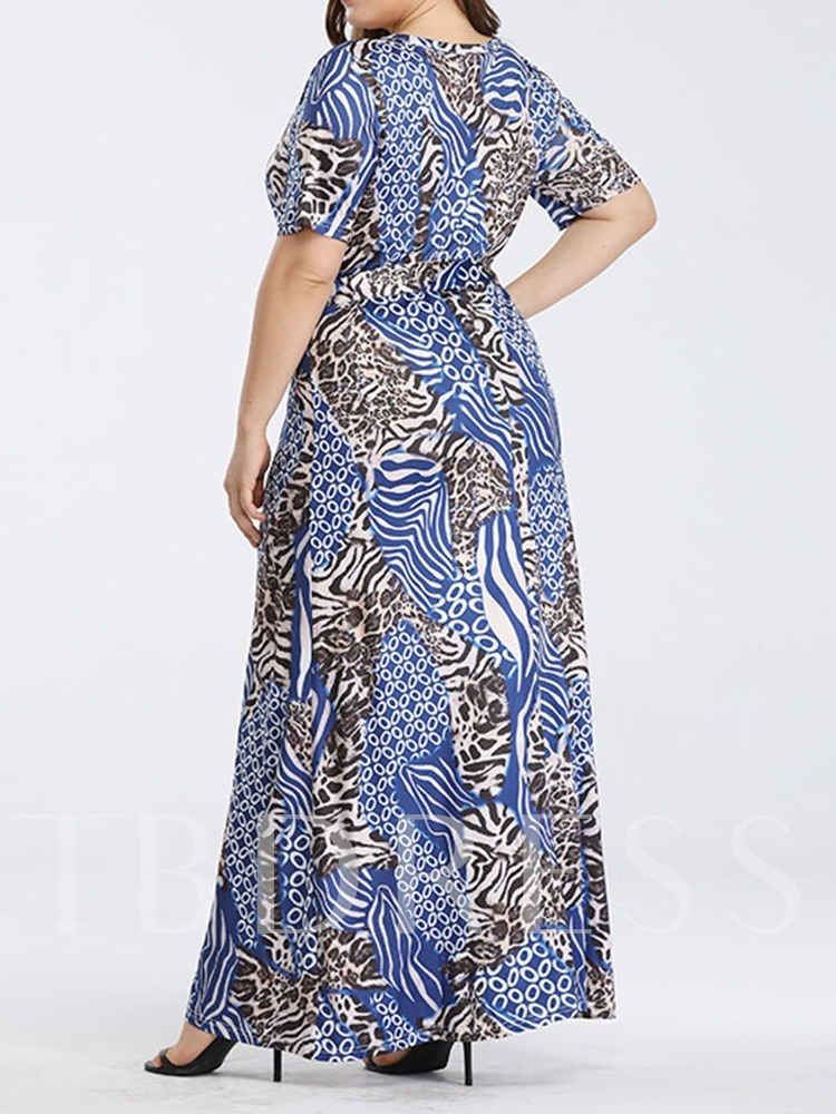 Plus Size Short Sleeve V-Neck Print Regular Women's Maxi Dress