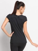 Plus Size Short Sleeve Solid Pullover Women's Workout T-shirt