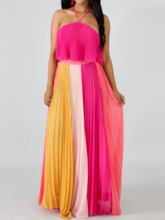 Pleated Color Block Skirt Pleated Women's Two Piece Sets