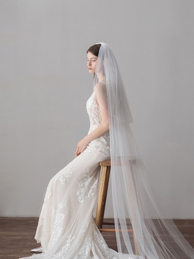 Royal Train Tulle Wedding Veil