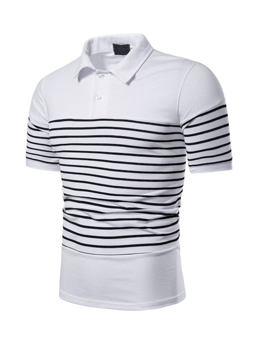 Stripe Polo Neck Patchwork Casual Men's Polo Shirt