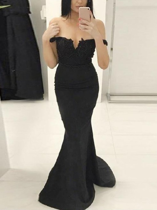 Sleeveless Off-The-Shoulder Trumpet Floor-Length Prom Dress 2019