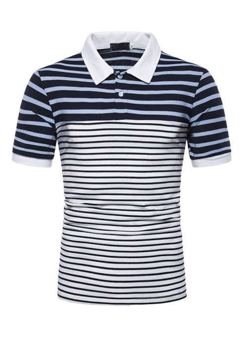Polo Neck Stripe Casual Men's Polo Shirt