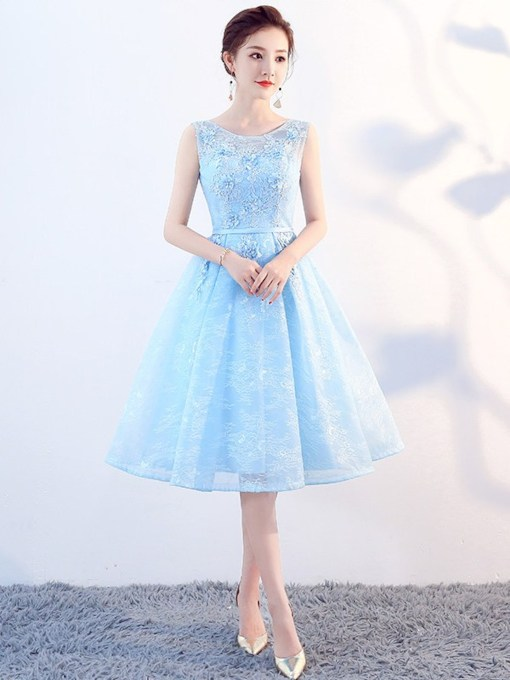 Knee-Length Sleeveless A-Line Flowers Homecoming Dress