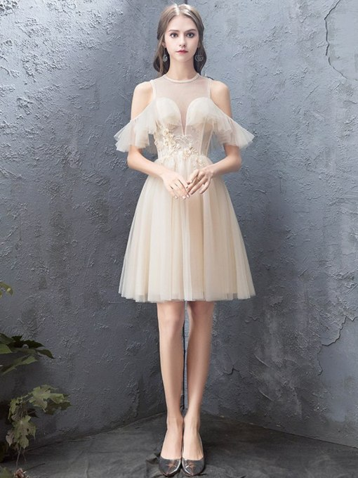 A-Line Appliques Knee-Length Scoop Homecoming Dress