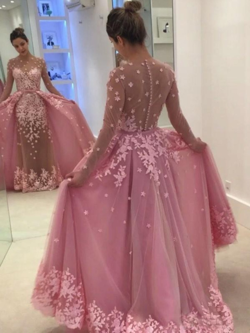Long Sleeve Button Sheer Back Appliques Prom Dress