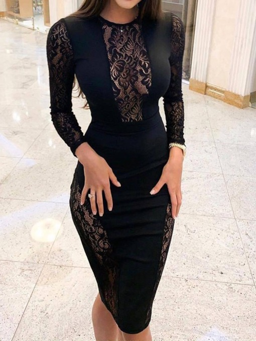 Hollow Round Neck Lace Women's Bodycon Dress