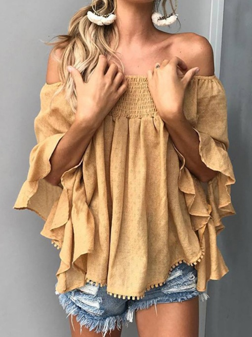 Asymmetric Plain Off Shoulder Mid-Length Women's Blouse