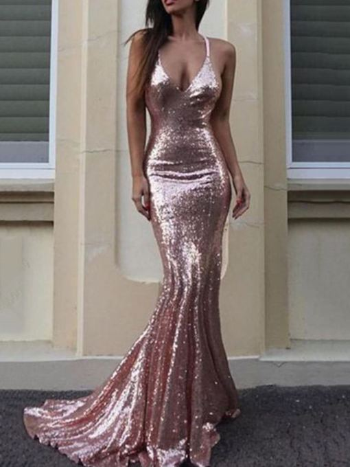 Halter Spaghetti Straps Mermaid Sequins Prom Dress 2019