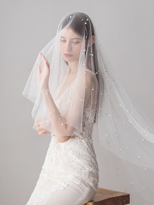 Bead Cut Edge One-Layer Pearls Wedding Veil 2019
