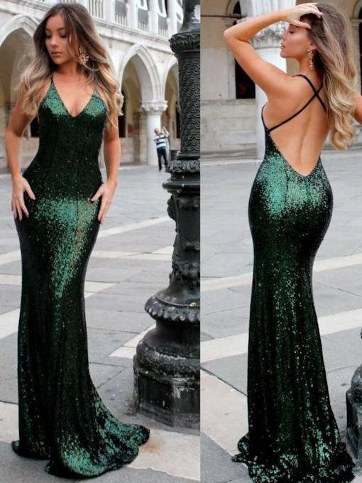 Sleeveless Sequins Floor-Length V-Neck Formal Dress 2019