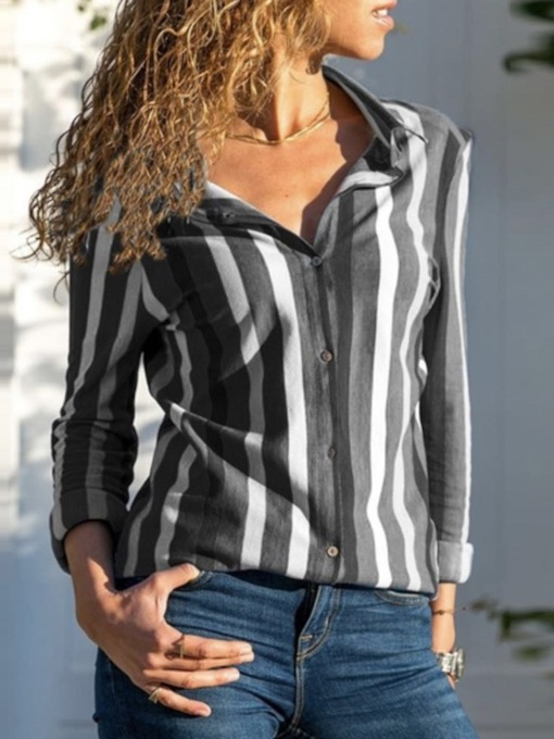 Lapel Stripe Button Regular Long Sleeve Women's Shirt