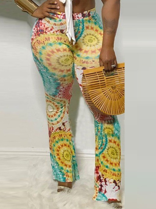 Print Slim Full Length Women's Casual Pants