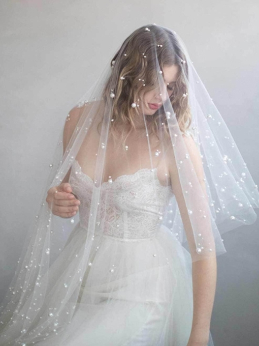 Cut Edge One-Layer Pearl Wedding Veil 2019