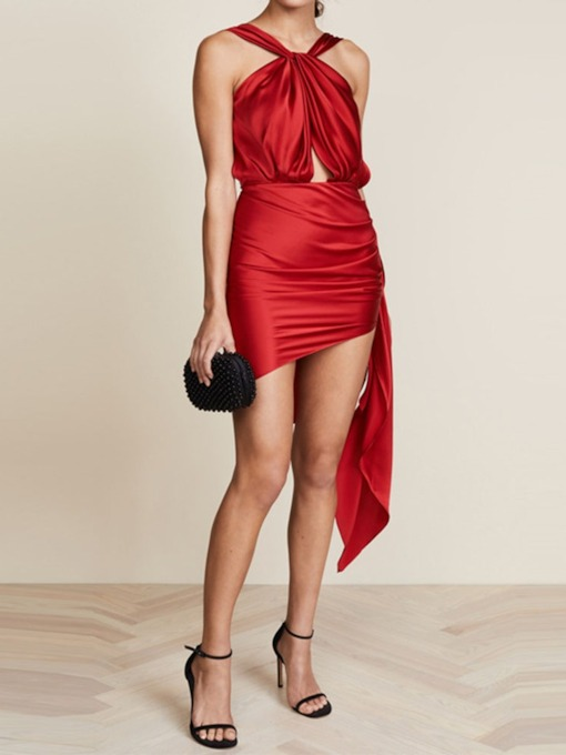 Sleeveless Asymmetric Backless Women's Party Dress