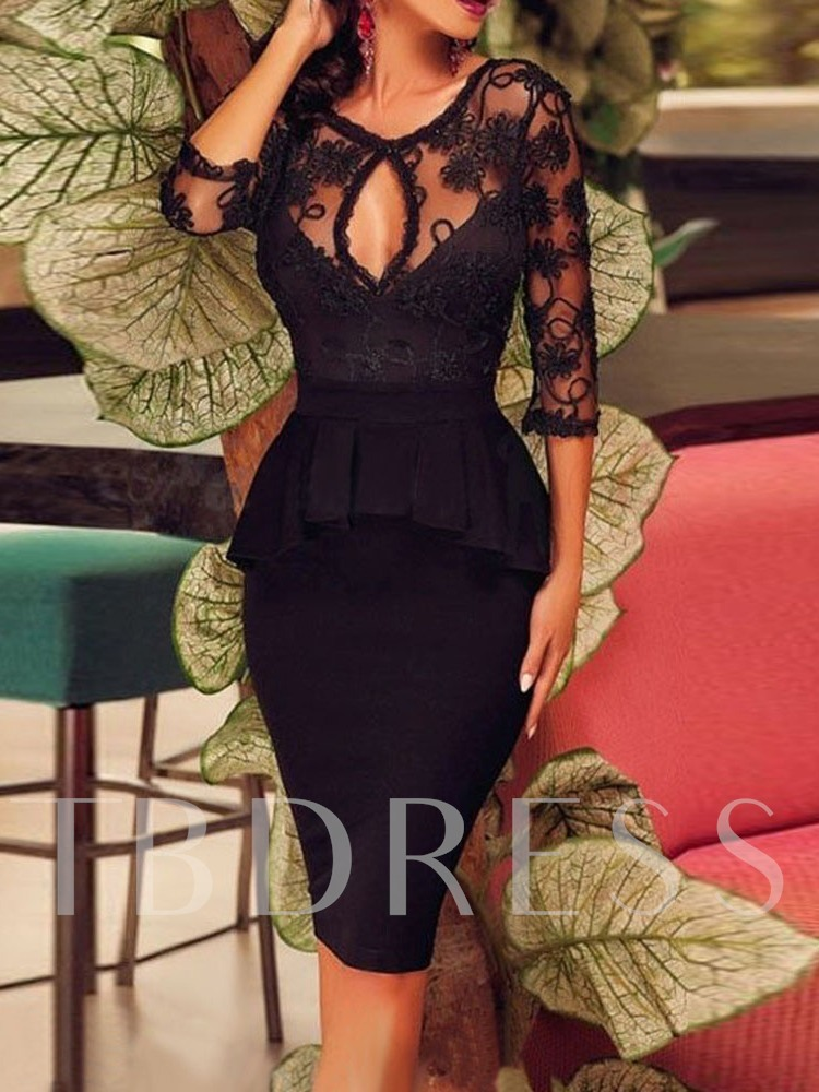 Round Neck See-Through Floral Lace Women's Bodycon Dress