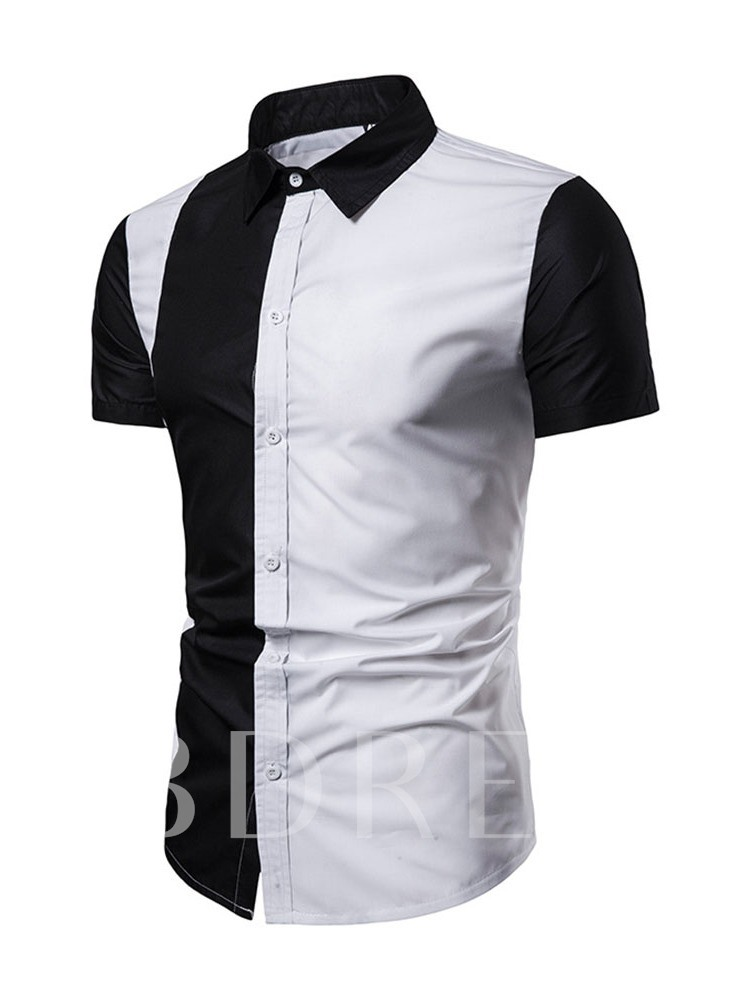 Lapel Patchwork Casual Color Block Summer Men's Shirt