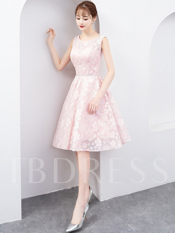 Lace Scoop A-Line Sleeveless Homecoming Dress 2019