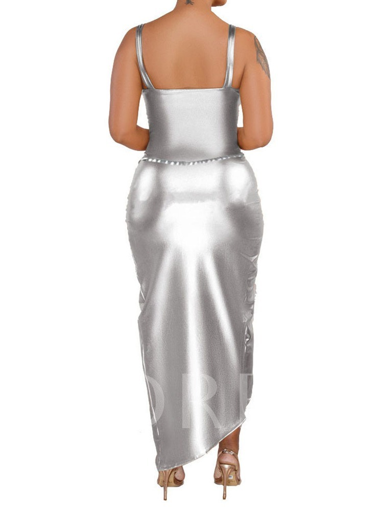 Sexy Plain Skirt Backless Women's Two Piece Sets