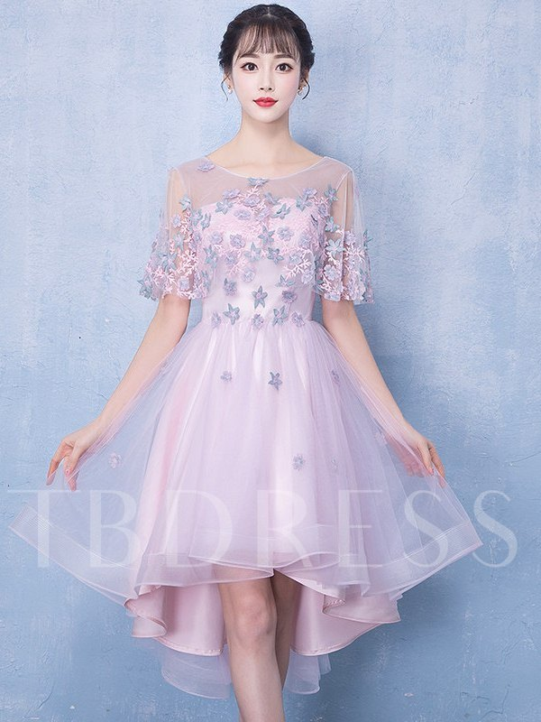 Lace A-Line Scoop Half Sleeves Homecoming Dress 2019