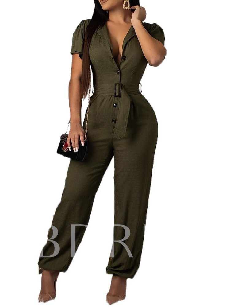 Button Plain Full Length Fashion High Waist Women's Jumpsuit