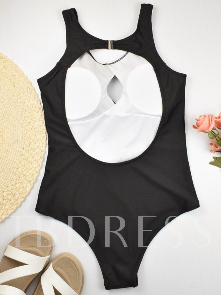 Sexy Hollow Color Block One Piece Women's Swimwear